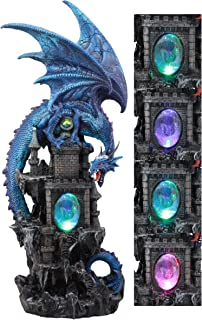 Ebros Large Blue Guardian Spyro Water Elemental Dragon On Rocky Mountain Castle Decorative Statue with Automatic Color Changing LED Night Light Mythical Fantasy Decor Figurine 20.75