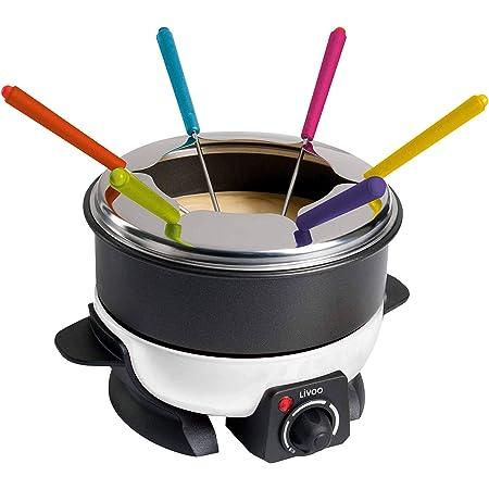 LIVOO DOC106 Appareil Personnes | Capacité 1,6 L | 6 Fourchettes à Fondue incluses | Thermostat Réglable | 500 Watts, Noir