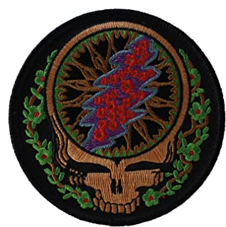 4.5`` Grateful Dead Tie-Dye Lightning Bolt Iron On Embroidered Patch patches supplier:slim/_pickins/_entertainment