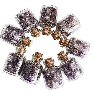 Loveliome 9 Mini Gemstone Bottles Tumbled Stones, Amethyst Crystal Healing Reiki Wicca Stones Set Wishing Bottle