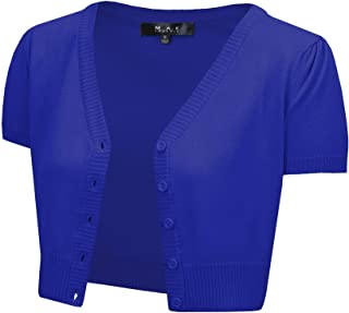Women's Short Sleeve Cropped Bolero Button Down Cardigan Sweater (S-4X)