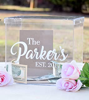Personalized Clear Card Box with Lid - Wedding Card Box - Personalized Card Box - Wedding Keepsake Box - Acrylic Card Box - Wedding Card Box with Slot - Card Box for Wedding