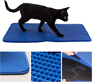 Easyology Cat Litter Mat for Large Litter Box - Patented Woven Fibers Trap 37% More - Waterproof Rubber Bottomed Litter Box Mat - Litter Trapper/Catcher Pad for Sensitive Paws