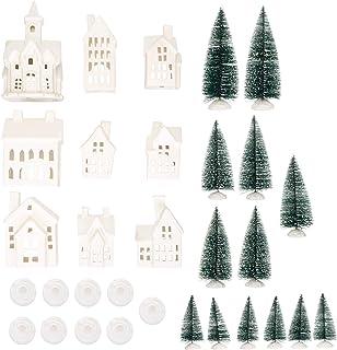 Mark Feldstein & Associates Winter Village LED Tea Light 31 Piece Porcelain Tabletop Christmas Figurine Boxed Set
