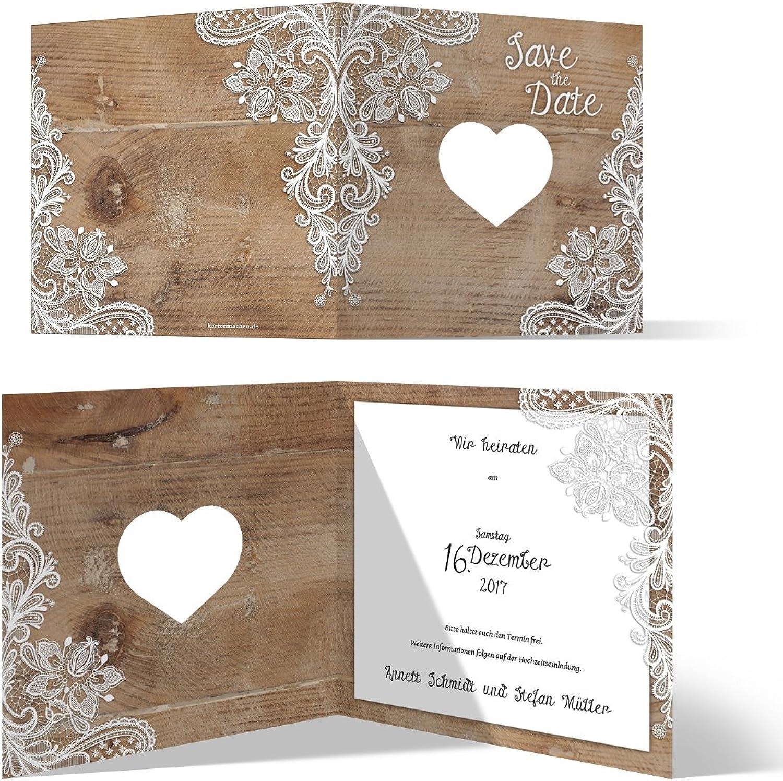 Lasergeschnittene Save the Date Karten (40 Stück) - Rustikal mit weißer Spitze - Hochzeitskarten B074QV162J | Zuverlässige Leistung