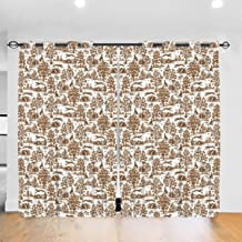 RALANG Blackout Curtains 84 Inches Long for Bedroom - All Season Thermal Insulated Brown Greyhound Toile Noise Reducing Curtains/Drapes, 2 Panels