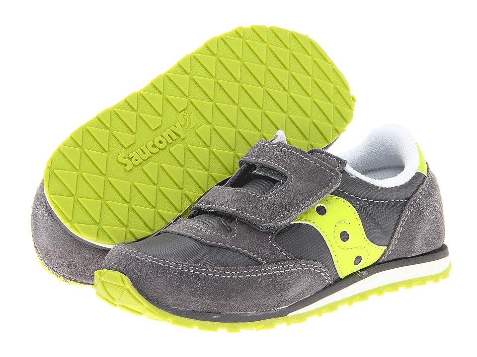 Saucony Kids Originals Jazz Hook Loop (Toddler/Little Kid) (Grey/Citron) Boys Shoes