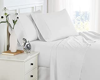 200 Thread-Count, 22 Inch Extra-Deep Pocket, Combed Cotton, Percale, Single-Ply, Pre-Shrunk Cotton Bedsheet Set, Split Kin...