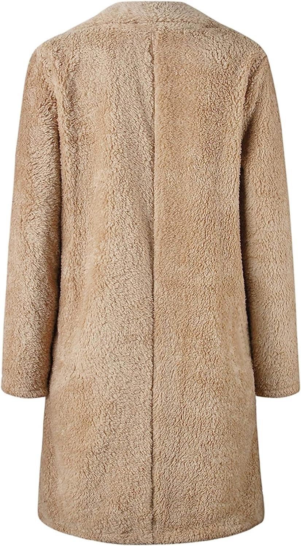 TYQQU Damen Mantel Wollen Lang Warm Wintermantel Winterparka Causal S-XXXL Khaki