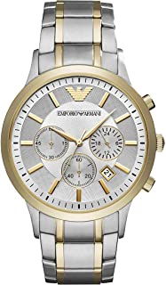 Emporio Armani Men's Dress Watch Quartz Stainless-Steel Strap, Silver, 13 (Model: AR11076)