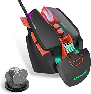 CNYMANY Gaming Mouse Wired [Removeable Weights] [Programmable] [Breathing Light] [3200 DPI]Ergonomic Game USB Computer Mic...
