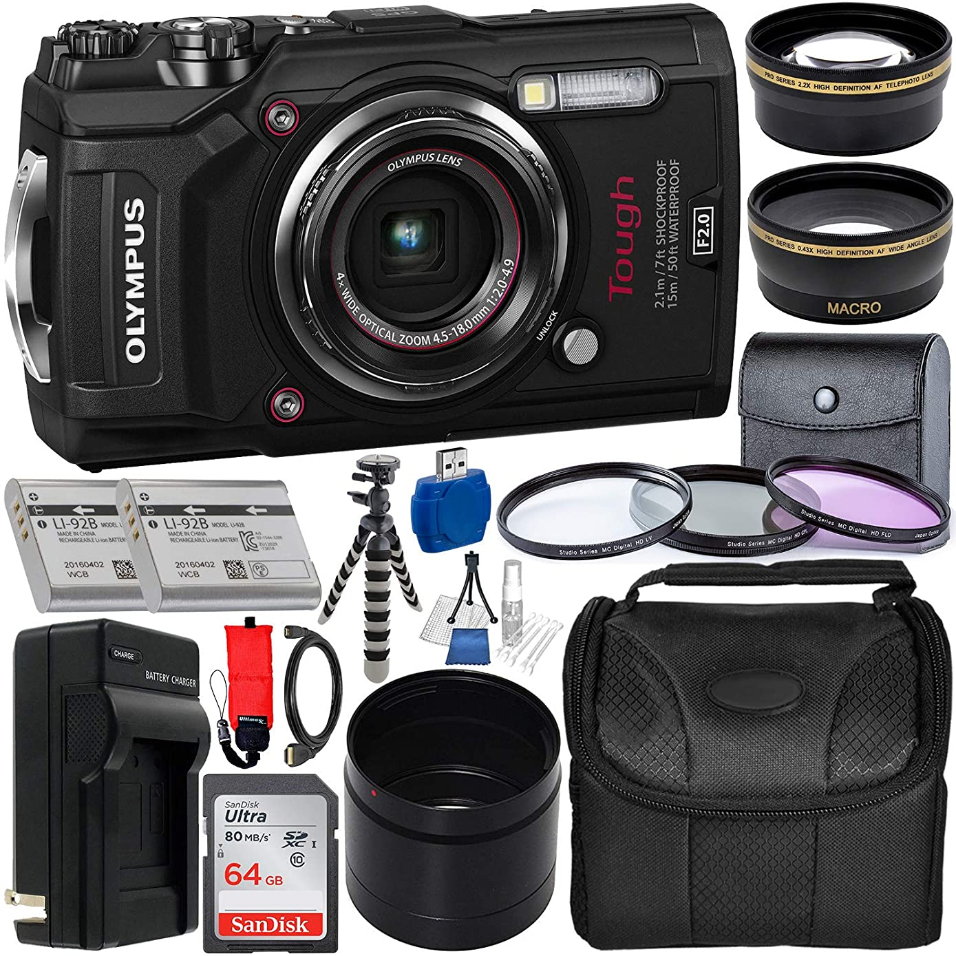 Olympus Tough TG-5 Digital Camera (Black) with Deluxe Accessory Bundle – Includes: SanDisk Ultra 64GB SDXC Memory Card, 2X Spare Batteries with Charger, Flexible Gripster Tripod, Adapter Tube & More