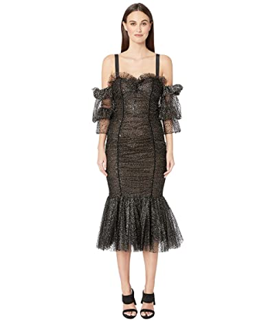 Marchesa Tulle with Metallic Silver Flocked Dot Cocktail Dress (Black) Women