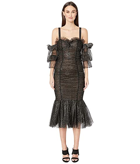 Marchesa Tulle with Metallic Silver Flocked Dot Cocktail Dress