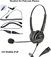 OvisLink Headset Compatible with Polycom Phones Allworx IP Phones | Dual Ear Call Center Headset with 2 Quick Disconnect Cord | HD Voice Quality | 2 Years Manufacture Warranty | Fast &