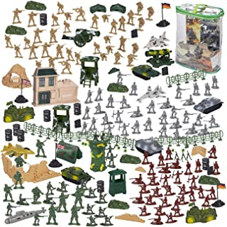 300 Piece Army Action Figures Set, Military Toy Soldier Playset with Tanks, Planes, Flags, and Battlefield Accessories for...