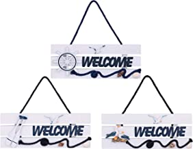Dedoot Welcome Sign Outdoor, Pack of 3 Decorative Welcome Sign Wood Hanging Welcome Sign Nautical Beach Theme for Front Door Wedding Wall Home Decor, 11x4.3 Inch