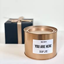 You are Here Inspirational Candle | Sea Salt & Sage Relaxing Scent | Rustic Rose Gold Travel Tin Candle with a lid | Highl...