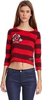 Bershka Camiseta Manga Larga Cta M/Codo Rayas Y Patches Rojo XS