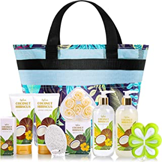 Gift Basket for Women, Mothers Day Gifts, Coconut Spa Gift Sets, 10Pc Bath Gifts for Women, Beauty Bath Set Includes Shower Gel, Body Lotion and Bath Salt. Best Relaxation Gift Set for Mom, Women, Men