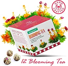 Blooming Green Tea Set of 12 Balls , 6 Naturally Flavored Flower Teas Total 36 Steeps & 250 Cups - Artisan Hand-Tied Florals scented by Jasmine, Vanilla, Peach, Mango & Rose Scented Edible Flowers (1)