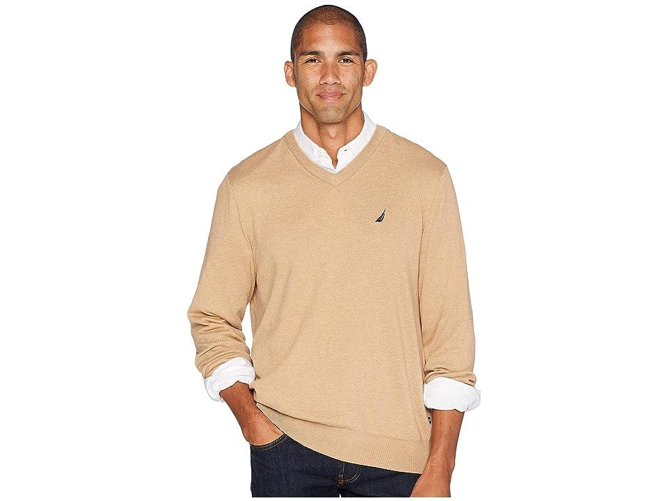 Nautica 12 Gauge Jersey V-Neck Sweater (Camel Heather) Men