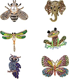 KeyEntre 6 Pieces Women Brooch Set Crystal Pin Vintage with Butterfly Dragonfly Owl Elephant Frog Bee Animal and Insect Brooch Pin Colorful Animal Shape Brooch for Women Girls Party Favors