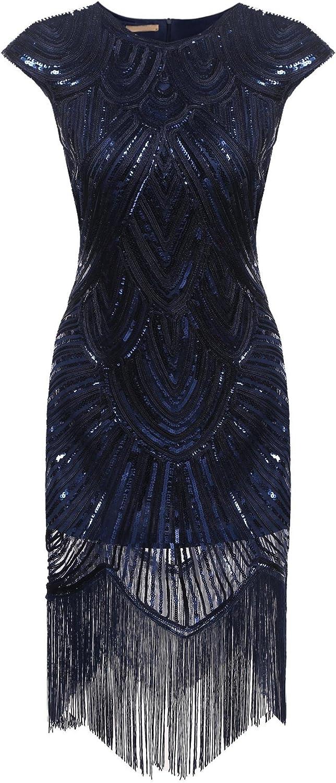 Etuoji Women's 1920s Gatsby Dresses Sequin Beaded Embellished Fringed Vintage Party Dress