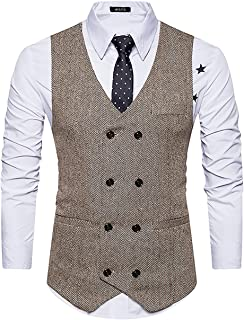 Mens Slim Fit Double Breasted Tweed Waistcoat Vintage Gentleman British Suit Vest