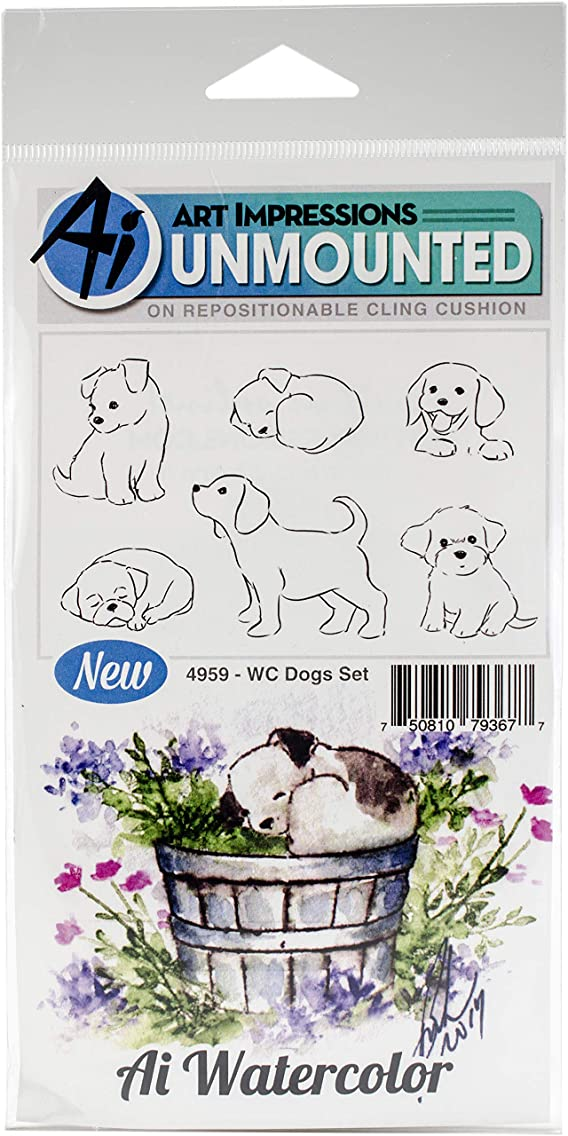 Art Impressions WC4959 Watercolor Cling Rubber Stamps, Dogs