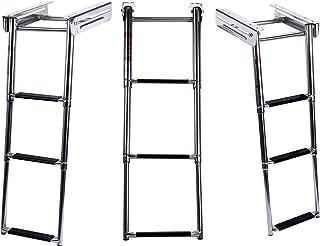 Amarine Made 3-Step Under Platform Slide Mount Boat Boarding Ladder, Telescoping, Stainless Steel