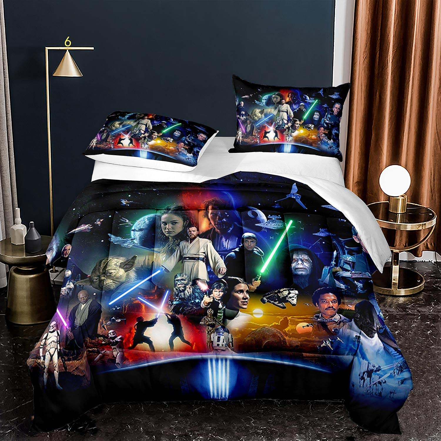 Tianzhihe Star-Wars Bedding Large special price Set A surprise price is realized Twin Set, Adult Size Boys Blac