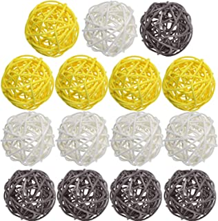 Yaomiao 15 Pieces Wicker Rattan Balls Decorative Orbs Vase Fillers for Craft, Party, Wedding Table Decoration, Baby Shower, Aromatherapy Accessories, 1.8 Inch (Yellow Gray White)