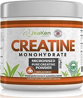 POLVO de MONOHIDRATO de CREATINA Por JeaKen - 500 g de creatina monohidrato micronizada 100% pura - HPLC analizada por su pureza - para el crecimiento muscular - HECHO EN EL REINO UNIDO