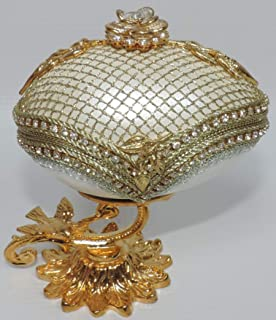 Daily Treasures Gold Trimmed Goose Egg on Golden Stand