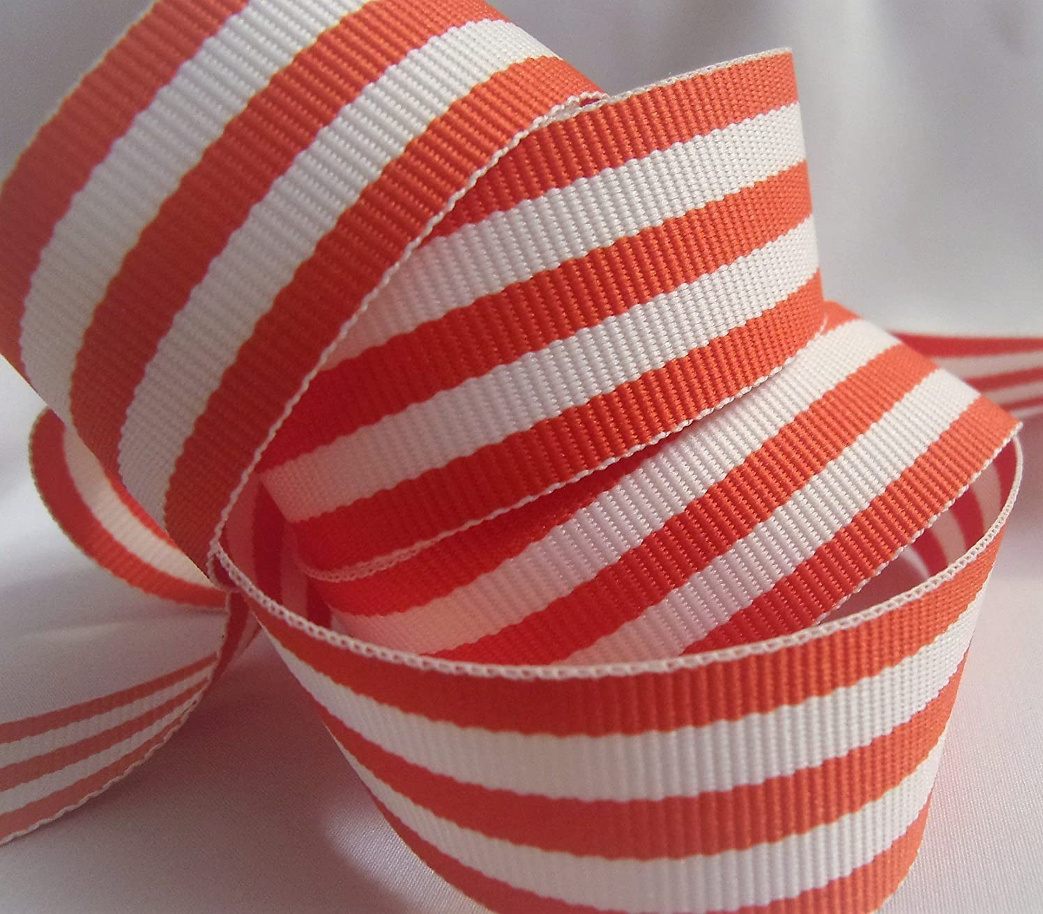 Grosgrain Ribbon - Orange and White Stripes - 7/8