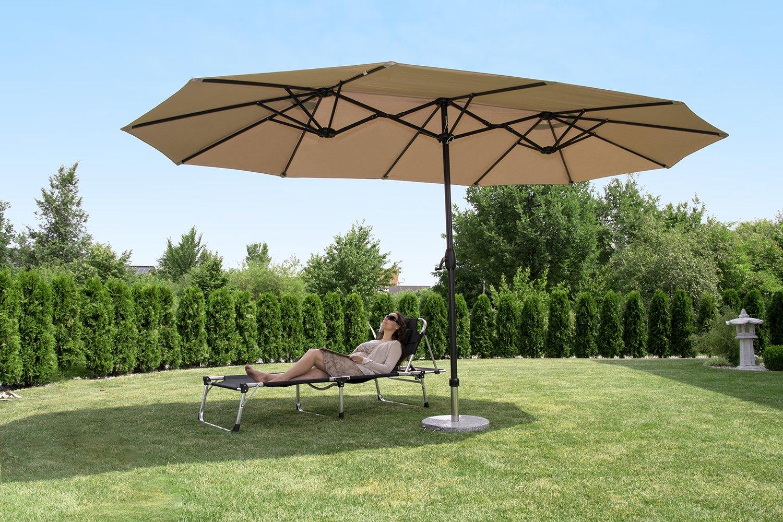 Sekey® Aluminio Sombrilla Parasol de Doble Juego para terraza jardín Playa Piscina Patio diámetro 460 cm x 270 cm Protector Solar UV50+ Crudo: Amazon.es: Jardín