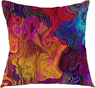 oFloral Chaotic Waves Pillowcase,Colorful Rainbow with Purple Fuchsia Pink Red Orange Gold Blue Throw Pillow Cover Square Cushion Case for Sofa Couch Car Bed Home Decorative 18