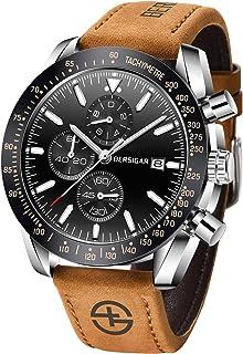 BERSIGAR Elegante orologio da uomo con movimento al quarzo analogico Cinturino in cronografo impermeabile Orologio da uomo...