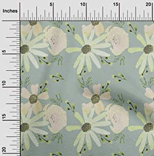 oneOone Cotton Poplin Twill Dusty Green Fabric Flower & Leaves Watercolor Fabric for Sewing Printed Craft Fabric by The Ya...