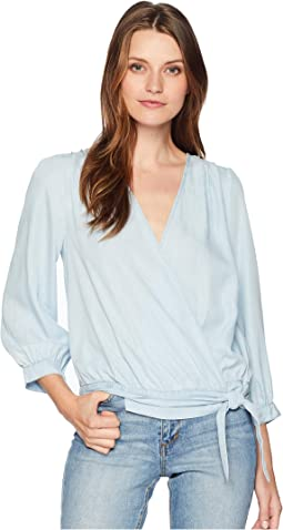 Long Sleeve Side Tie Faux Wrap Front Blouse