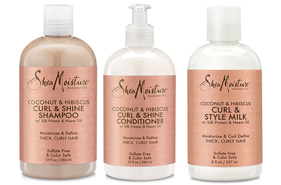 Shea Moisture Coconut and Hibiscus Curl and Shine Combination Set - Includes 13 oz. Shampoo, 13 oz. Conditioner and 8 oz. Curl and Style Milk