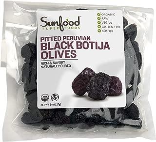Sunfood Olives, Black Botija, Pitted, 8 Ounces, Organic, Raw