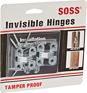 SOSS Door Hardware Mortise Mount Invisible Hinges with 4 Holes, Zinc, Satin Chrome Finish, 1-1/2