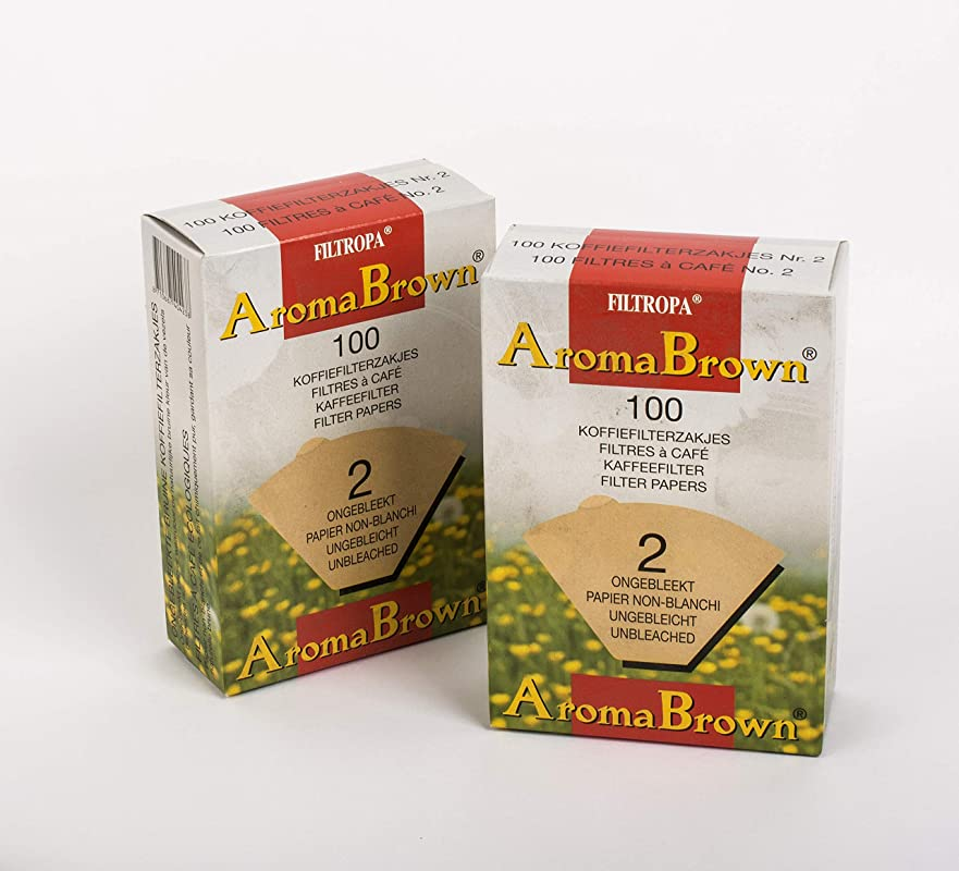 Filtropa 8720 2 8720 AromaBrown Unbleached Disposable Coffee Cone Number 2 Size Filter Brews 2 To 6 Cups Box Of 100 No 2 UNB Set Of 2 One Brown