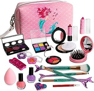 Sendida Kids Makeup Kit for Girls, Kids Real Play Mermaid Makeup Kit Washable Cosmetics Gift for Little Girls Toddlers Dre...