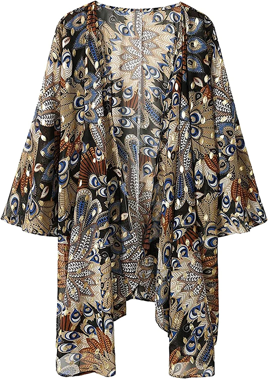 VonVonCo Pullover Sweaters for Women 3/4 Sleeve Tops and Blouses Floral Print Sheer Chiffon Loose Kimono Cardigan Capes Coat