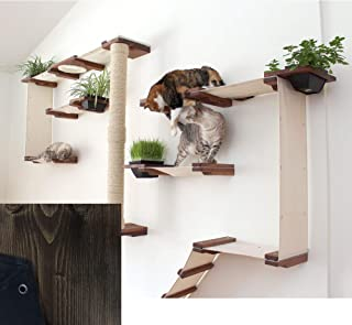 CatastrophiCreations Cat Mod Gardens Set - Multiple-Level Cat Hammock & Climbing Activity Center - Handcrafted Wall-Mounted Cat Tree Shelves with Planter for Cat Grass