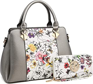 3 Compartments Handbags for Women Medium Shoulder Bags Tote Purse Top Handle Satchel with Matching Wallet