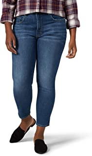 Riders by Lee Indigo Womens ZFPHSSE Plus Size Heritage High Rise Skinny Ankle Jean Jeans - White